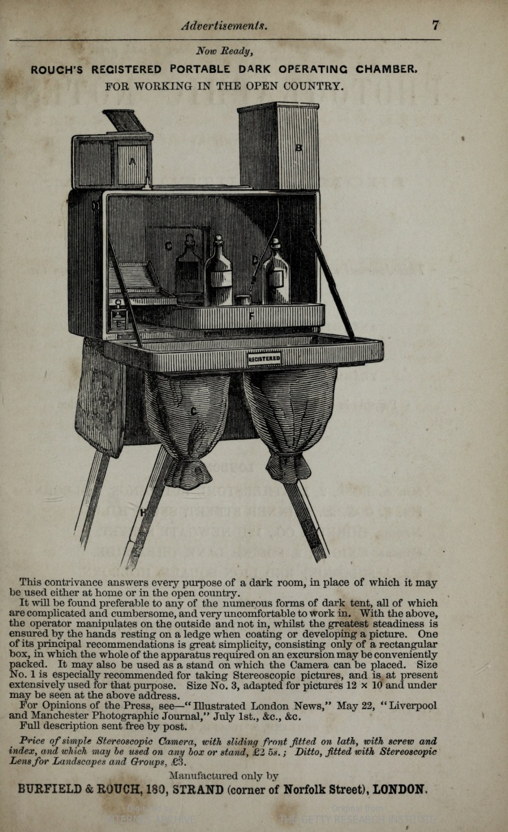 Rouch's Registered Portable Dark Operating Chamber, advertisement